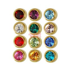 M213 MINI EAR PIERCING GOLD PLATED , ASSORTED STONE
