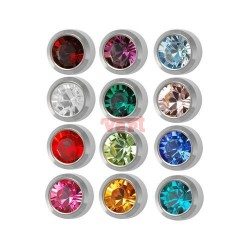 M213 MINI EAR PIERCING STEEL , ASSORTED STONE