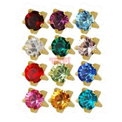 R113 (113Y/NC) 24CT GOLD PLATED CLAWSET BIRTHSTONES (ASSORTED COLOURS)