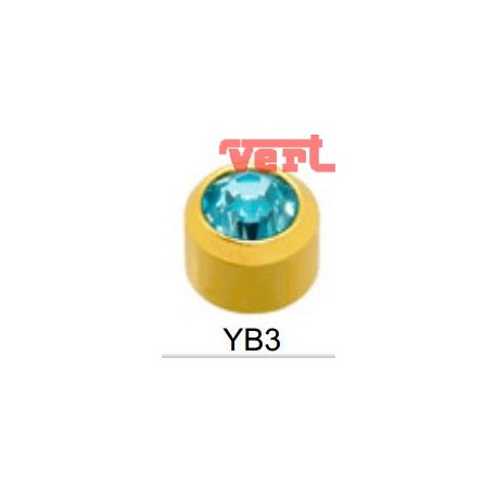 R203 (2YB-3/NC) 24CT GOLD PLATED BEZELSET BIRTHSTONE AQUAMARINE COLOUR