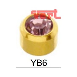 R206 (2YB-6/NC) 24CT GOLD PLATED BIRTHSTONE SLIM PINK COLOUR