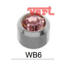 R206W (2WB-6/NC) WHITE STAINLESS BEZELSET BIRTHSTONE SLIM PINK COLOUR