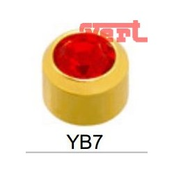 R207 (2YB-7/NC) 24CT GOLD PLATED BEZELSET BIRTHSTONE BRIGHT RED COLOUR