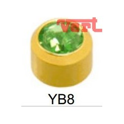 R208 (2YB-8/NC) 24CT GOLD PLATED BEZELSET BIRTHSTONE PERIDOT COLOUR