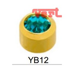 R212 (2YB-12/NC) 24CT GOLD PLATED BEZELSET BIRTHSTONE ZIRCON BLUE COLOUR