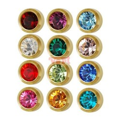 R213 (2YB-A/NC) 24CT GOLD PLATED BEZELSET BIRTHSTONE ASSORTED COLOURS