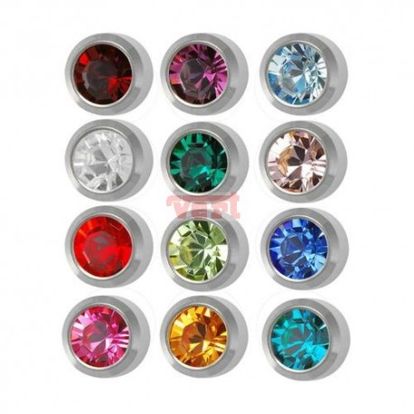 R213W (2WB-A/NC) WHITE STAINLESS ASSORTED BIRTHSTONE
