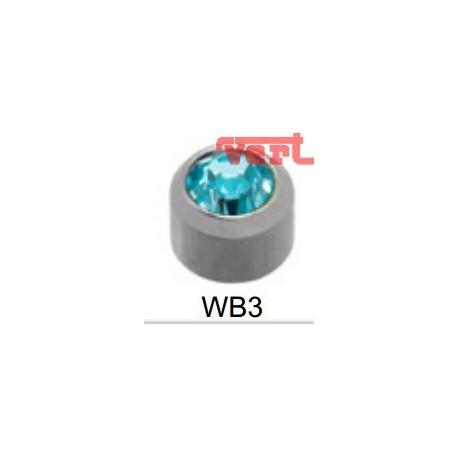 R203W (2WB-3/NC) WHITE STAINLESS BEZELSET BIRTHSTONE AQUAMARINE COLOUR