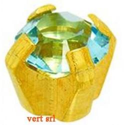 STR003 24CT GOLD PLATE REGULAR CLAWSET AQUA CUBIC ZIRCONIA SYACZ